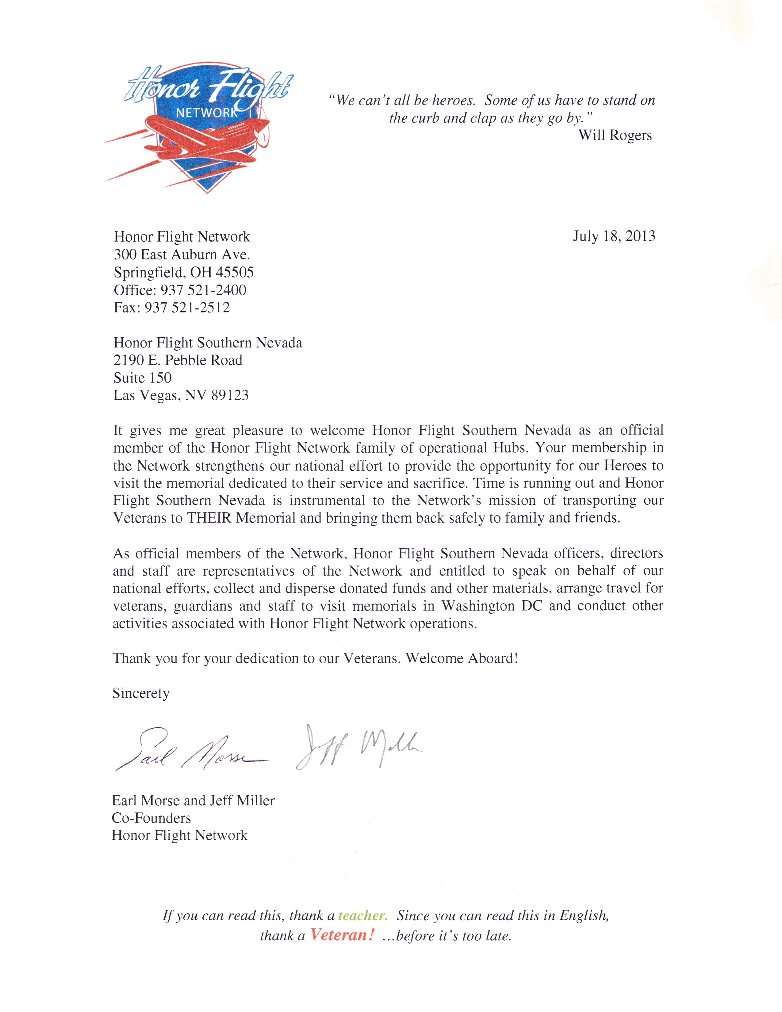 a report on the honor flight network and writing letters for it